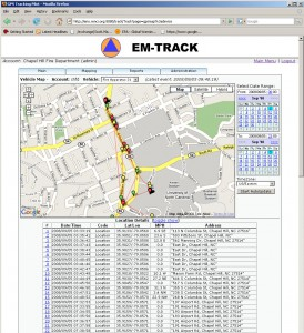 A test of a prototype Automated Vehicle Tracking system shows the location of several Chapel Hill Fire Department vehicles in a Web-based Google Maps interface.