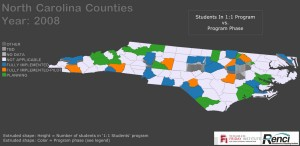 RENCI at NC State helped the university's Friday Institute visualize data about the state's 1:1 Computing Project. This image shows by county where and to what extent the program has been implemented (colors) and the numbers of students involved (height).
