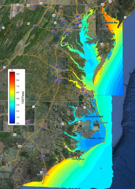 A visual depiction of water levels from coastal storm surge and waves that have a 1 percent annual probability of occurring (called the 100 year flood level) in North Carolina (part of FEMA's Region 4) and Virginia, Maryland and Delaware  (FEMA Region 3). ,Water levels are shown in feet, with higher levels in red, orange and yellow.  Image credit: Howard Lander, RENCI