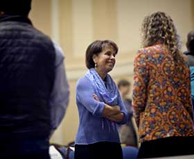 Chancellor Carol L. Folt talks with a student during a TEDxUNC breakout session. (Courtesy of Connelly Crowe, TEDxUNC.)